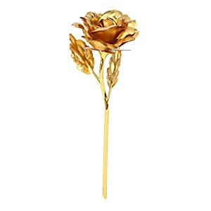 muxiao Imitation 24K Gold Rose Artificial Flowers Couples Gift 58