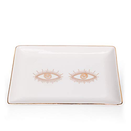 Tenforie Eyes Ceramic Jewelry Dish Ring Holder Bracelets Plate Dessert Dish Trinket Tray Wedding Accessories Perfect to Hold Small Jewelries, Rings, Necklaces, Earrings, Bracelets, Cosmetics, etc.