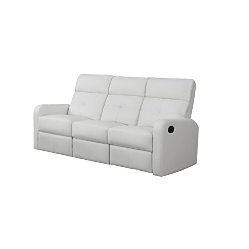 Monarch Specialties I 85WH 3 Reclining Sofa In White Bonded Leather