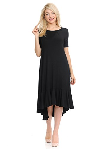Pastel by Vivienne Women's Short Sleeve High-Low Mid Dress with Ruffle Detail Medium Black
