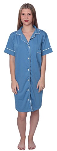 Beverly Rock Women's Soft Jersey Knit Cotton Blend Button Down Sleepshirt Pajama Top with Piping Finish Y18_WPJ01 Blue 3X by Beverly Rock (Image #2)