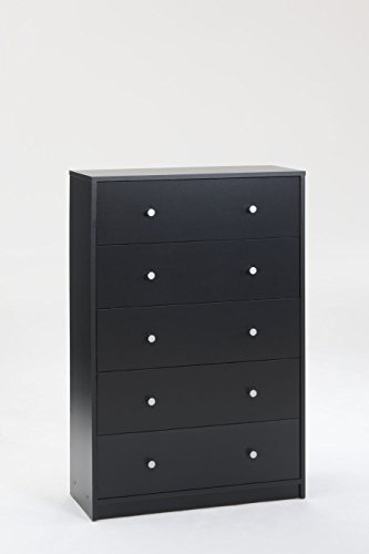 - Tvilum 703298686 Portland 5 Drawer Chest, Black