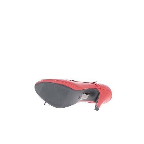 Escarpins femme rouge à lacets talon de 9cm