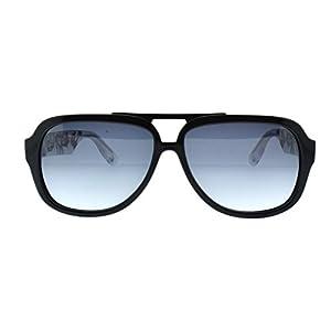 Alexander McQueen MCQ 0021 RL8 Black Crysal Crow Print Aviator Sunglasses
