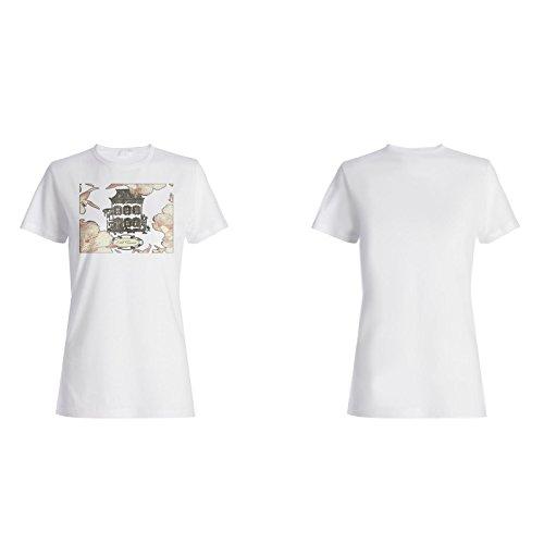 Neue Vintage Hand Gezeichnete Hauskarte Damen T-shirt h767f