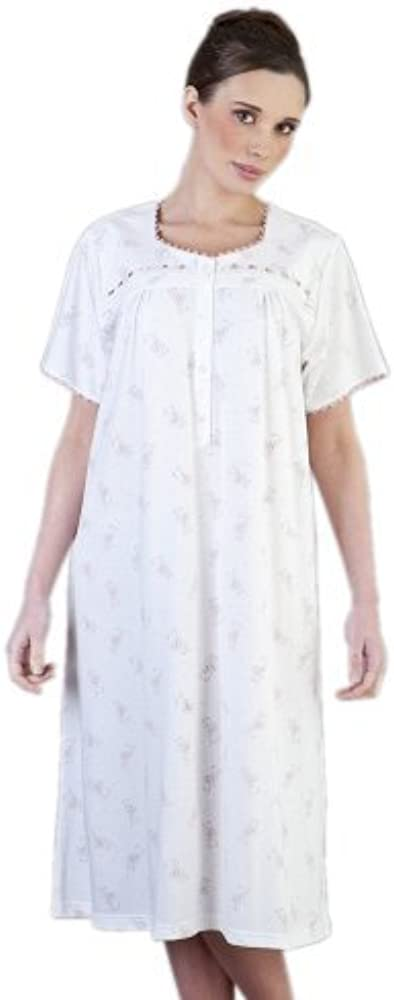 Mujer/Señoras Ropa de Dormir Pijamas De/Manga Corta algodón Jersey Elegante Floral Camisón Transparente, Color Rosa, X Gran/XX Grande: Amazon.es: Ropa y accesorios