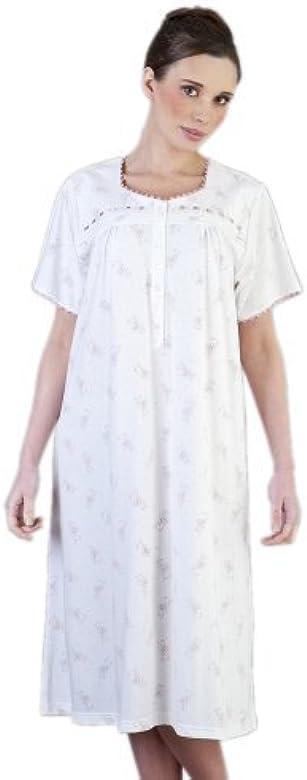 Mujer/Señoras Ropa de Dormir Pijamas De/Manga Corta algodón Jersey ...