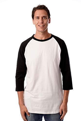 Raglan Tone T-shirt (At The Buzzer Men's Baseball Raglan Sleeve Solid Shirt 15970-WHTBLK-2XL)
