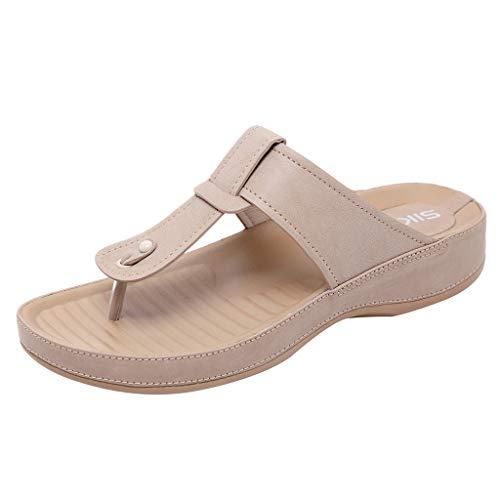【MOHOLL】 Women's Thong Sandals Flip-Flop Essentials Unisex Sandals Beige]()