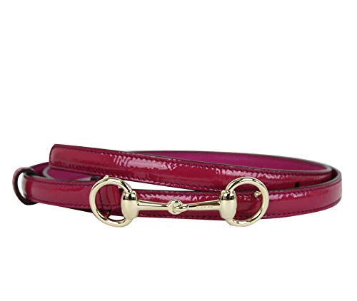 Gucci Women's Horsebit Buckle Fuchsia Leather Thin Skinny Belt 282349 5614 (100/40) (Horsebit Buckle Belt)