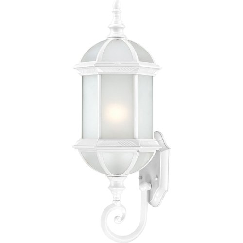 Nuvo Lighting 60/4991 Boxwood Energy Star One Light Mid-Size Wall Lantern/Arm Up Bulb Included Frosted Glass White Outdoor Fixture ()