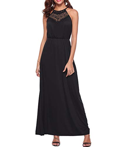 Sweetnight Womens Halter Neck Floral Lace Party Dresses Summer Full Length Spaghetti Strap Beach Cami Maxi Dress (Black, S)