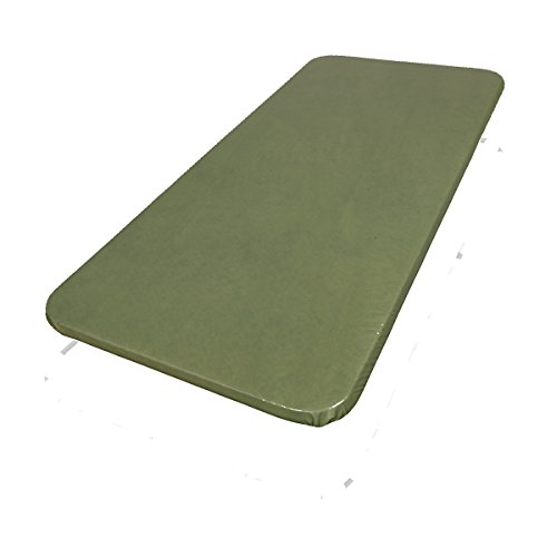 Premium Solid Color Fitted Vinyl Flannel Backed Elastic Fitted Tablecloth, Fits Table To 42 Inch Wide x 64 Inch Long Oblong - Sage Green