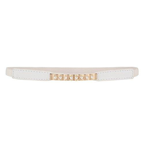 Quotidiana Snella Bianco Damara Elastica Perla Cintura Metallo Della Fibbia Donne Elegante qOqwaIv
