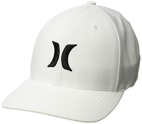 Hurley Men's Dri-Fit One & Only Flexfit Baseball Cap, White/Black, - One Baseball Black Fit Hat