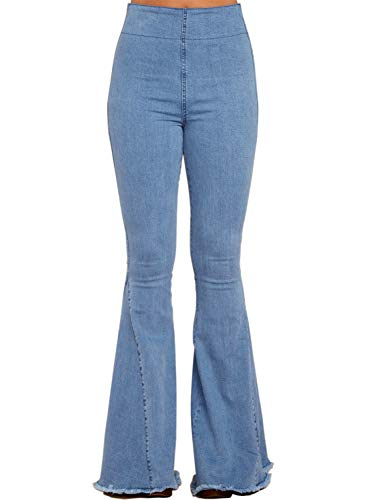 Dokotoo Womens Casual Classic Ladies Juniors Vintage High Elastic Waist Solid Vintage Fitted Slim Flare Bell Bottom Denim Jeans Long Pants Outerwear Blue Medium