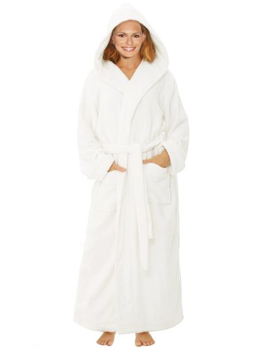 399c293e9c Terry Velour Hooded Bathrobe 100% Cotton White Robe