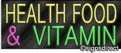 ''Health Food & Vitamin'' Neon Sign, Frame Material=Clear Plex