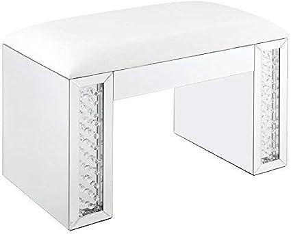 Amazon Com Acme Nysa Vanity Stool Ivory Pu Mirrored Faux Crystals Furniture Decor