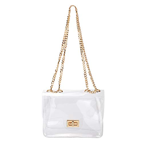 LOPHORINA Women Clear PVC Chain Handbag Flap Top Shoulder bag Rotary Lock Purse NFL & PGA Stadium - Medium Handbag Flap