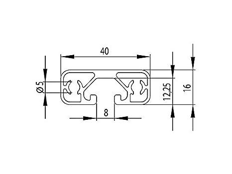 Standardl/ängen 50mm 7,50 EUR//m, min. 2,50 EUR Aluminiumprofil 40x16E I-Typ Nut 8
