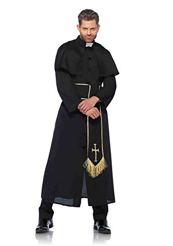Leg Avenue Men's 2 Piece Priest Costume, Black, Medium/Large -