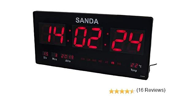 Sanda SD-0006 Reloj Digital de Pared Led Color Rojo Calendario Termometro Alarma Despertador Clock Hora Fuente de Alimentacion: Amazon.es: Hogar