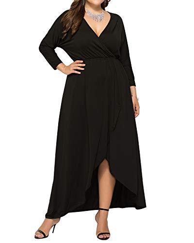 (AUDATE Women's Elegant Long Maxi Dress Casual Loose Fit Ruffle and Flowy Hem Maxi Dress Black 2XL)