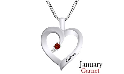- Jewel Zone US Personalized Engravable Heart Shape Simulated Garnet Pendant Necklace 14 White Gold Over Sterling Silver - Custom Made Any Name
