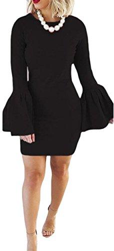 Sexy Club Dress Jaycargogo Trumpet Sleeves Black Neck Bodycon Solid Women's Mini Cowl w5qA4x1R