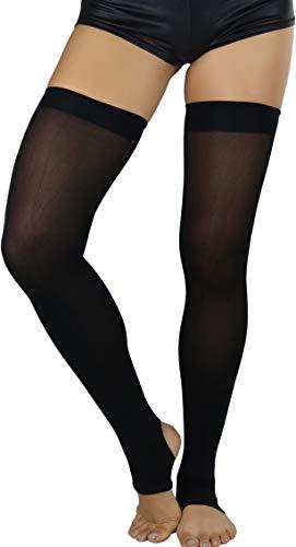 Opaque Stirrup - ToBeInStyle Women's Western Opaque Stirrup Thigh Highs - Black - OS