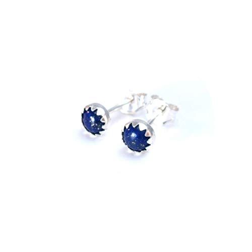(Tiny Blue Lapis Stud Earrings Cartilage Piercing Jewelry 4mm Round Blue Earrings )