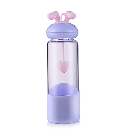 (Original Bunny Girls Glass Water Bottle,BPA free, Portable leak-proof Water bottle, No-lead Pyrex Glass For kids and Girls, Premium Quality - Soft Silicone Protective Sleeve- Dishwasher Safe (Blue))