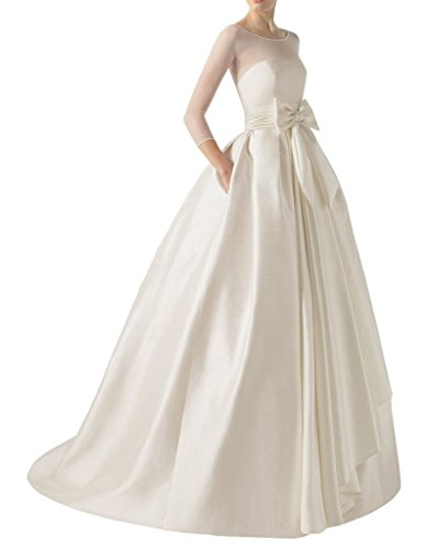 (MengLu White Satin Sash Scoop Long Empire Wedding Dress Bridal Ball Gown Size 16)