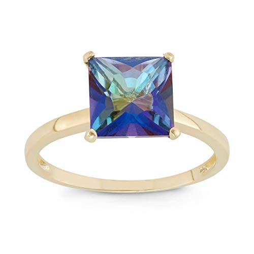 (Celebration Moments Mystic Blue Topaz Square Shape Ring in 10K Gold, 8mm - Size 9)