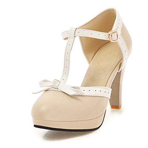 Susanny Women's Chic Sweet Round Toe T-Strap Bows Adorable Buckle High Cone Heel Mary Janes Dress Beige6 Pumps 8 B (M) US ()