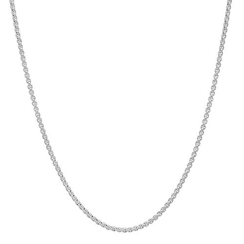 The Bling Factory Small 1.5mm Durable Stainless Steel Rounded Box Chain Necklace, 20