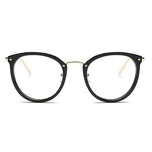 Amomoma Womens Fashion Clear Lens Round Frame Eye Glasses AM5001 Black Frame/Clear Lens