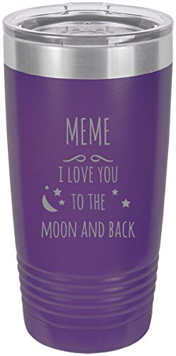 Meme - I love you to the Moon and Back Stainless Steel Engraved Insulated Tumbler 20 Oz Travel Coffee Mug, Purple