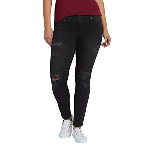 6ae6a4abe30 Maurices Women's Denimflex Plus Size Jegging With Destruction In Black  70%OFF