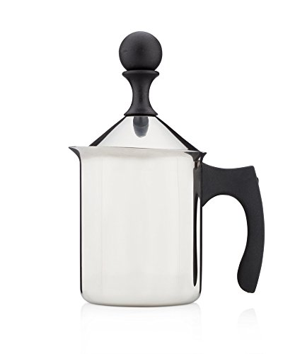 Francois et Mimi Milk and Creamer Frother Coffee Foam Pitcher with Handle and Lid, Stainless Steel, 14-Ounce Capacity, for Cappuccino and More