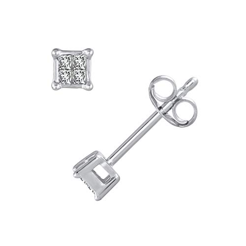 1/10 Carat Princess Cut Diamond Stud Earrings in 10K White Gold - IGI Certified