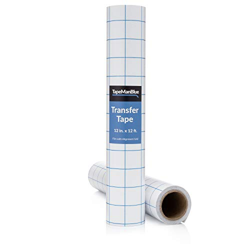 Vinyl Transfer Tape, 12 inch x 12 Foot, Clear Film with Alignment Grid