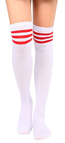 Wool Top & Striped Skirt - Leg Warmers Women's Retro Striped Long Knee High Socks Tube Socks,Whit Red Strap