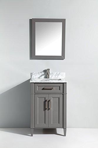 Vanity Art 24 Inch Bathroom Vanity Set with Carrara Marble Stone with Free Mirror VA2024-G ()