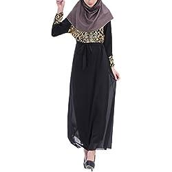 Aivtalk Women Muslim Abaya Chiffon Dress Islamic Clothing Long Dress-Black,Large
