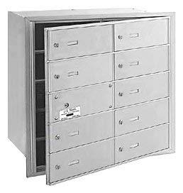 Salsbury Industries 3610AFU 4B Plus Horizontal Mailbox, 10 B Doors 9 Usable, Front Loading, USPS Access, Aluminum