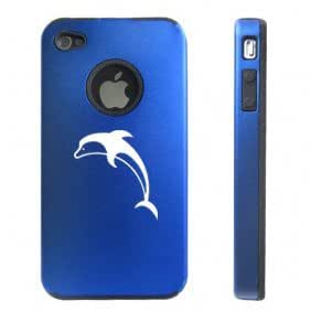 Apple iPhone 4 4S 4 Blue D3926 Aluminum & Silicone Case Cover Dolphin