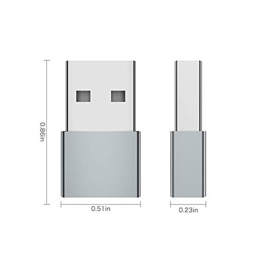 USB C Female to USB Male Adapter (2-Pack), QianLink Type C to USB A Adapter, Compatible with Laptops, Power Banks, Chargers, and More Devices with Standard USB A Ports (Gray)