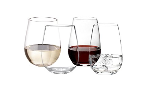 SPRINGROSE Set of 4 Unbreakable 100% Tritan Glasses For Wine, Cocktails, Scotch, Whiskey And More – 16oz Stemless Shatterproof Plastic Glassware With Heavy Base – Elegant Dishwasher Safe Design ()